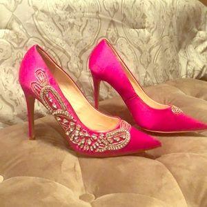 Hot Pink Satin/Sequin heels